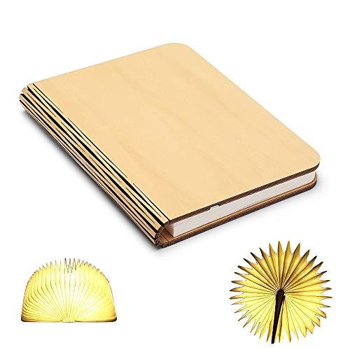 Lampada da tavolo a libro pieghevole in legno, batterie ricaricabili al litio ricaricabili da 2500 mAh USB ricaricabile da tavolo Lampada da tavolo per arredo, nuovo regalo di compleanno per donna