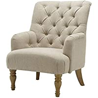 Buckingham Traditional Armchair - Classic Buttoned Occasional Accent Chair With Wooden Legs - Living Room and Bedroom Chair - In Fabric (Beige)