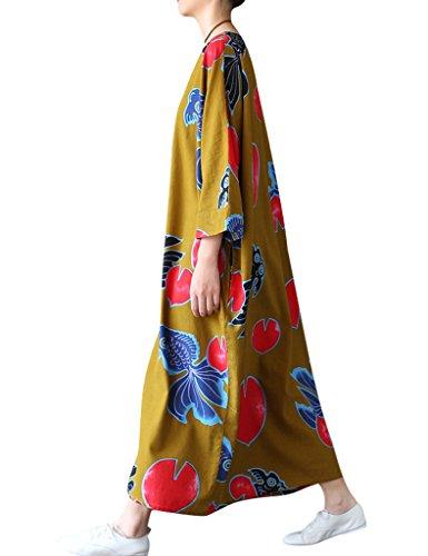 Youlee Damen Goldfisch Gedruckt Übergroßes Kleid Gelb