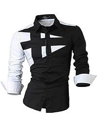 jeansian Hommes Chemises Solid Manches Longues Slim Fit Mode pour Homme Casual Chemises Manches Longues 8397