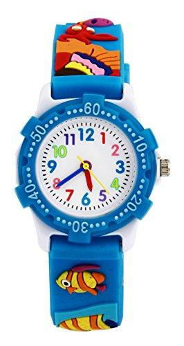 Jungen Mädchen Analog Uhren, Kinder wasserdicht Spielzeug Teaching Uhren, Kleinkind Zeit Lehrer Armbanduhr Geschenke für Kinder mit Umweltfreundlich 3D Cute Cartoon Silikon Strap Blau Fisch UEOTO