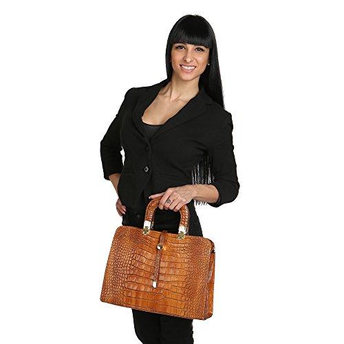 Chicca Borse Handbag Borsa a Mano da Donna con Tracolla in Vera Pelle Made in Italy Stampa Pitone 37x26x14 Cm Cuoio