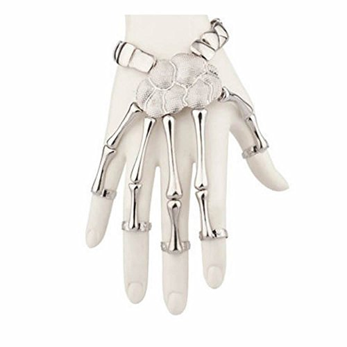 MAXGOODS 1 STK Damen Hand Kette Schädel Fingers Metall Skelett Sklave Armband Ring, Golden/Silber (Silber)