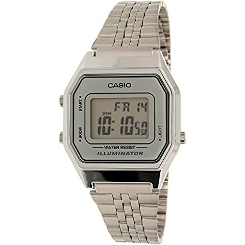 CASIO LA-680WA-7 - Reloj digital de cuarzo, para hombre, color gris y plateado