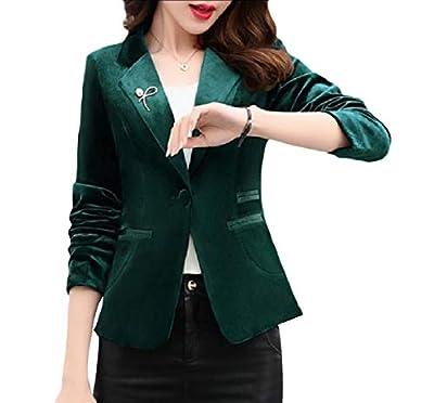 Vinyst Women Formal Short Mini Velvet Notch Collar Slim Suit Coat Tops