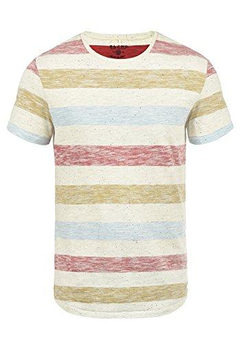 Blend V-neck T-shirt (Blend Efkin Herren T-Shirt Kurzarm Shirt Mit Streifen Und Rundhalsausschnitt, Größe:L, Farbe:Rust Red (73830))