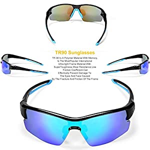 INBIKE Polarized Sun Glasses Cycling with 5 Interchangeable Pc Lenses and TR90 Mount, Uv400 MTB Glasses Unisex Anti-fog Sports Bicycle-Adult (Blue Black Armor + Blue Lens)