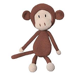 LOOP BABY gehäkelter brauner Kuscheltier Affe aus Bio-Baumwolle handgemacht – gehäkeltes Stofftier mit Name – brauner Häkelaffe
