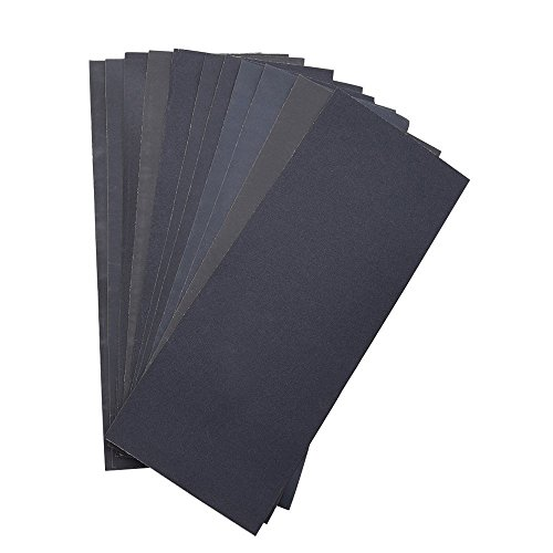 Abrasive Dry Wet Waterproof Sandpaper Sheets Assorted Grit of 400/ 600/ 800/ 1000/ 1200/ 1500 for Furniture, Hobbies and Home Improvement (12 Sheets) Test