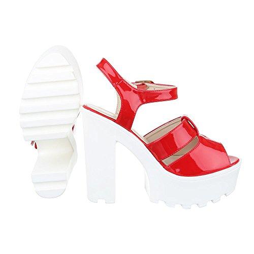 High Heel Sandaletten Damen Schuhe Plateau Pump Plateau Schnalle Ital-Design Sandalen / Sandaletten Rot