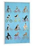 artboxONE Poster mit weißem Rahmen 30x20 cm Cycling Dogs von Künstler Coco de Paris - Poster mit Kunststoffrahmen