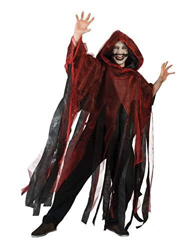 costumebakery - Herren Männer Kostüm Hochwertiger Gespenster-Umhang mit Kapuze Geist Ghoul mit Fransen, perfekt für Halloween Karneval und Fasching, One Size, Rot