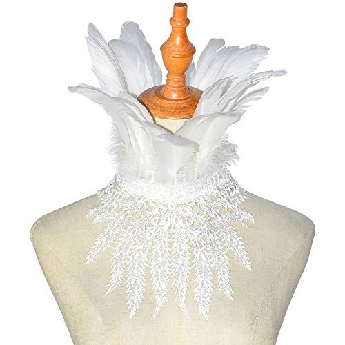 HOMELEX Gothic Schwarz Natürlich Federn Spitze Cape Wedding Choker Kragen (White-FL2)