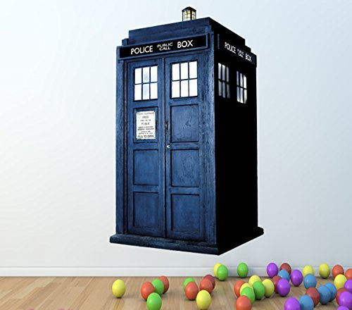 DOCTOR WHO TARDIS FULL COLOUR WALL STICKER   GIRLS BOYS BEDROOM C187 Size:  Large