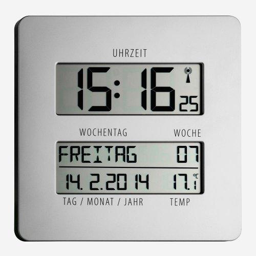 TFA Time Line Funkuhr mit Temperatur 60.4509.54, silber, übersichtliche Anzeige zur einfachen Zeitorientierung mit ausgeschriebenem Wochentag und vollständigem Datum