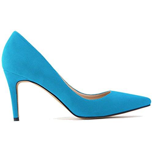 Xianshu Womens Veloursleder High Heel Sharp Toe Schuhe Flache Nadel Spitz Schuh(Light Blue-39 EU) -