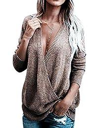 6afedb7e77a7ec Pengniao Maglioni Donna Oversize Maglione Scollo V Trecce Pullover Pesanti  Intrecciato Donna Larghi Maglioncino Lunghi Invernali