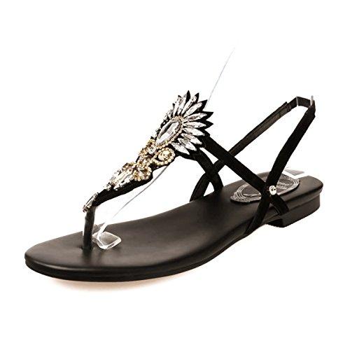 Senhoras Estudando Brilhante Sandálias De Salto T-fecho Dedos Slingback Trenner Preto