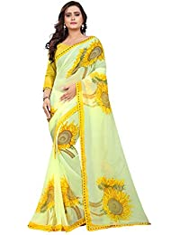 4100db0e7a Jaanvi Fashion Women's Chiffon Floral Printed Saree With Lace(sun-flower -yellow)