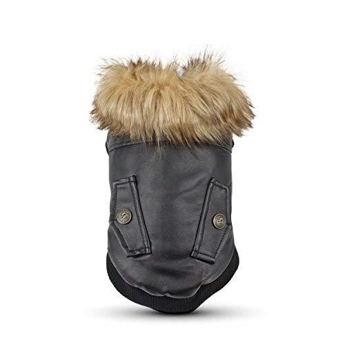 Manteau en cuir Lesy Pet pour chiens-Convient pour les chiens de petite et de moyenne taille - Manteau d'hiver étanche
