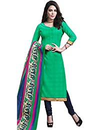 Vivously Green Bhagalpuri Silk Straight Suit With Dupatta.