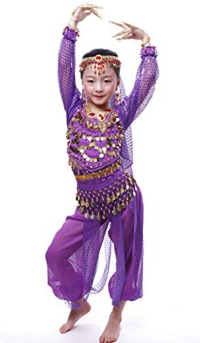 Astage Ragazze Abiti Costume A Maniche Lunghe Per Danza Del Ventre Da Bambina L Viola