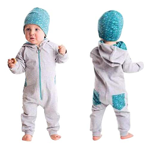 (HET Neugeborene Jungen Mädchen Kleinkind Baby Boy Einfarbig schöne reine Spleiß mit Kapuze Strampler Overall Playsuit Outfits Kleidung Sweatshirt Herbst Kleider Babykleidung (80, Grau))