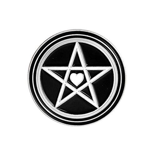 JTXZD Brosche Schwarzer runder Emaille auf Stiften WitchOuijaWeirdosPentagram Revers Broschen Witch Wizard Magic Wiccan for (Witch Kostüme Wizard Und)