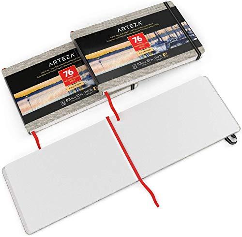 Arteza Aquarellbuch 13cm x 21cm, 3er-Pack mit jeweils 76 Seiten, 230g/m²  kaltgepresstes säurefreies Aquarellpapier, gebunden in Leineneinband, für Aquarelltechniken und Mischtechnik