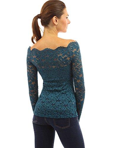 PattyBoutik chic chemise en dentelle à épaules dénudées à manches longues et demi- transparente turquoise foncé
