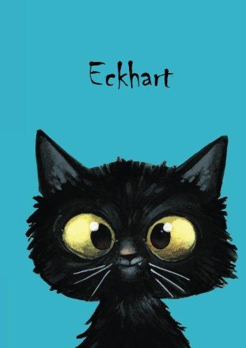Eckhart: Personalisiertes Notizbuch, DIN A5, 80 blanko Seiten mit kleiner Katze auf jeder rechten unteren Seite. Durch Vornamen auf dem Cover, eine ... Coverfinish. Über 2500 Namen bereits verf