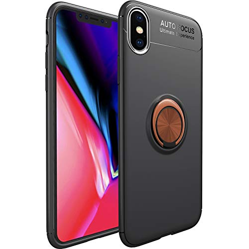 WATACHE iPhone XS Max Hülle, Slim Fit Heavy Duty Weichen TPU Fall mit Metall Finger Ring Grip Halter Ständer [Support Magnetic Car Mount] für Apple iPhone XS Max (6.5