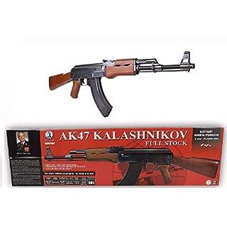 KOSxBO® Set Original Softair Gewehr Kalashnikov AK 47 Wood Federdruck 6 mm Maßstab 1:1-0,5 Joule ab 14 Jahren inklusive Zielscheibe - AK47