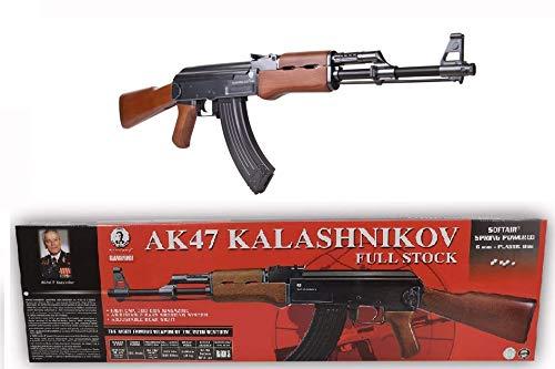 KOSxBO® Set Original Softair Gewehr Kalashnikov AK 47 Wood Federdruck 6 mm Maßstab 1:1-0,5 Joule ab 14 Jahren inklusive Zielscheibe - AK47 -