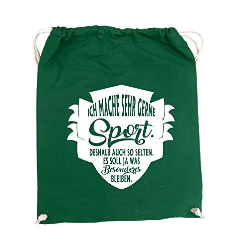 Comedy Bags - Ich mache sehr gerne sport deshalb auch so selten - Turnbeutel - 37x46cm - Farbe: Schwarz / Pink Grün / Weiss