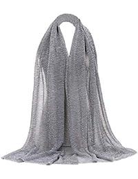 a61cae6a4c17 Rovinci Mode Femmes Couleur Unie Fil d or Plier de Plein Air Longue Doux  Emballage Écharpe Châle Écharpe…
