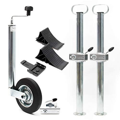 Anhänger Set 10-teilig, Stützrad mit Klemmhaltern, Stützen & Unterlegkeilen, bis 150 kg