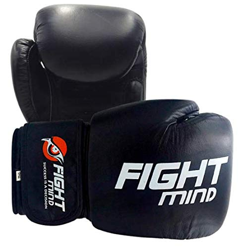 Fight Mind Boxhandschuhe aus echtem Leder für Frauen, Männer, Anfänger und Fortgeschrittene + Ebook/Boxing Gloves für Sparring, Sandsacktraining und Wettkampf (Black 10 OZ)