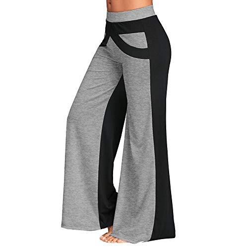2019 Frauen Yogahosen, routinfly Patchwork Bell Bottoms Flare-Hose Mid Waisted Wide Leg Athletic Hose -