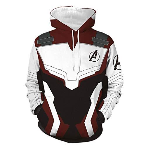 nihiug Avengers 4 Quantum Battlesuit Hoodie Männlich 3D Printed Sweatshirt Cosplay,White-L