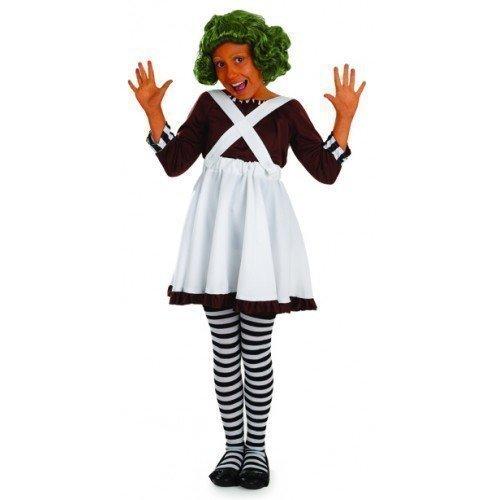 Mädchen Kinder Kinder Oompa Loompa büchertag Woche Halloween Kostüm Kleid Outfit - Weiß, 4-6 Years (Halloween-kostüm Loompa Oompa)