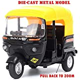 US1984 2018 Metal CNG Auto Rickshaw Die-Cast Toy Model With Movable Handle And Pull Back Action, Strong Build Quality And Great Gift For Boys And Girls Above 4 Years Old Best Gift