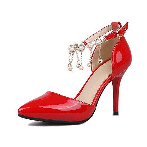 AgooLar Femme Couleur Unie Boucle Pointu Stylet Chaussures Légeres Rouge