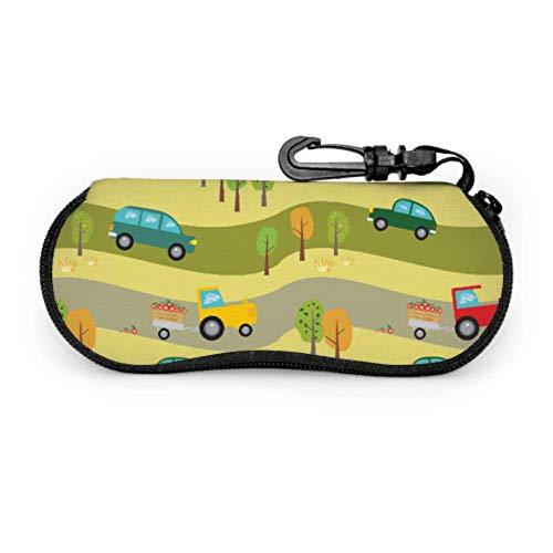JEOLVP Muster Autos Traktoren Wald Fällen für Kinder Brillen Kinder Brillenetui Licht tragbare Neopren Reißverschluss Soft Case Mädchen Sonnenbrille Fall