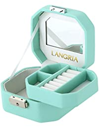 LANGRIA Caja Joyero, Organizador de Joyerías, para Almacenamiento de Joyas Anillos Pendientes, Cajita de Mano con Espejo