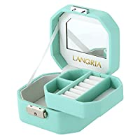 LANGRIA Embossed Faux Leather Jewelry Box, Octagonal Shape with Built-in Mirror, Lockable, Compact Size, Makeup and Accessories Storage Organizer Case (Pale Green)