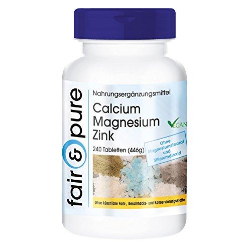 Calcium Magnesium Zink, vegan, Mineralstoff-Komplex, Großpackung mit 240 Tabletten
