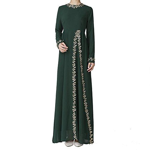 Ingsist Womens dunkelgrünes muslimisches Kleid mit Fashion Lace Element