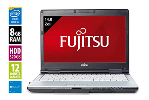 Fujitsu Lifebook S751 | Notebook / Laptop | 14 Zoll (1366x768) | Intel Core i7-2640M @ 2,8 GHz | 8GB DDR3 RAM | 320GB HDD | DVD-Brenner | Windows 10 Home (Zertifiziert und Generalüberholt) 2.8 Ghz Notebook