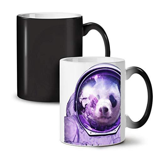 Reflexion Maske Kostüm - Wellcoda Astronaut Panda Bär Farbwechselbecher, Raumfliegen Tasse - Großer, Easy-Grip-Griff, Wärmeaktiviert, Ideal für Kaffee- und Teetrinker